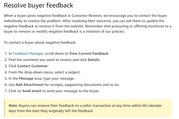 resolving buyer feedback
