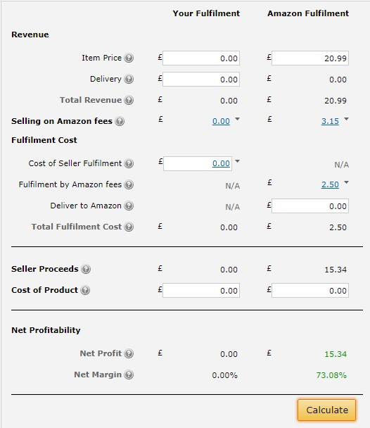 amazon fba fee calculator