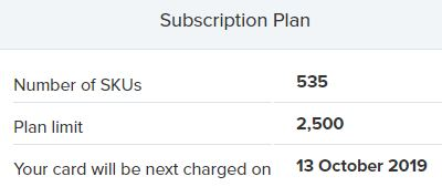 Repricer Express Subscription Plan section
