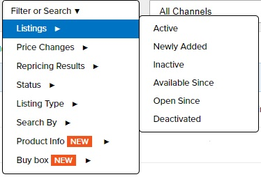 Repricer Express Listings filter