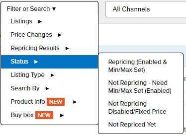 Repricer Express Status filter