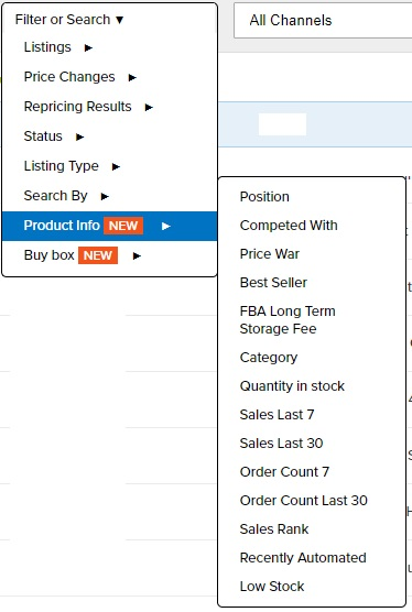 Repricer Express Product info filter
