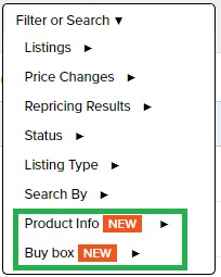 Repricer Express advanced filter or search options