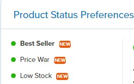 RepricerExpress Product Status Preferences