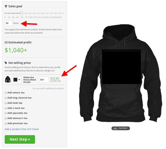 Teespring's design page