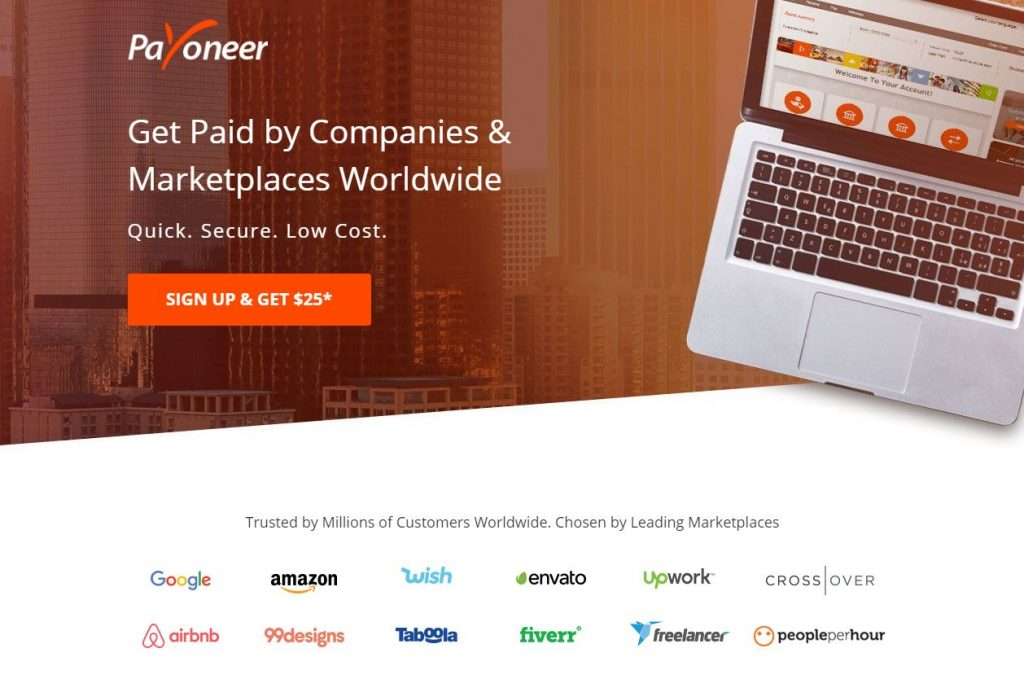 Payoneer has partnered directly with numerous renowned platforms