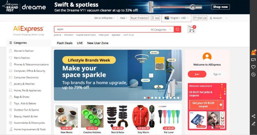 AliExpress online shopping