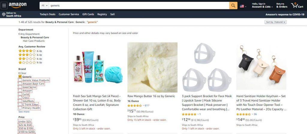Generic Products on Amazon
