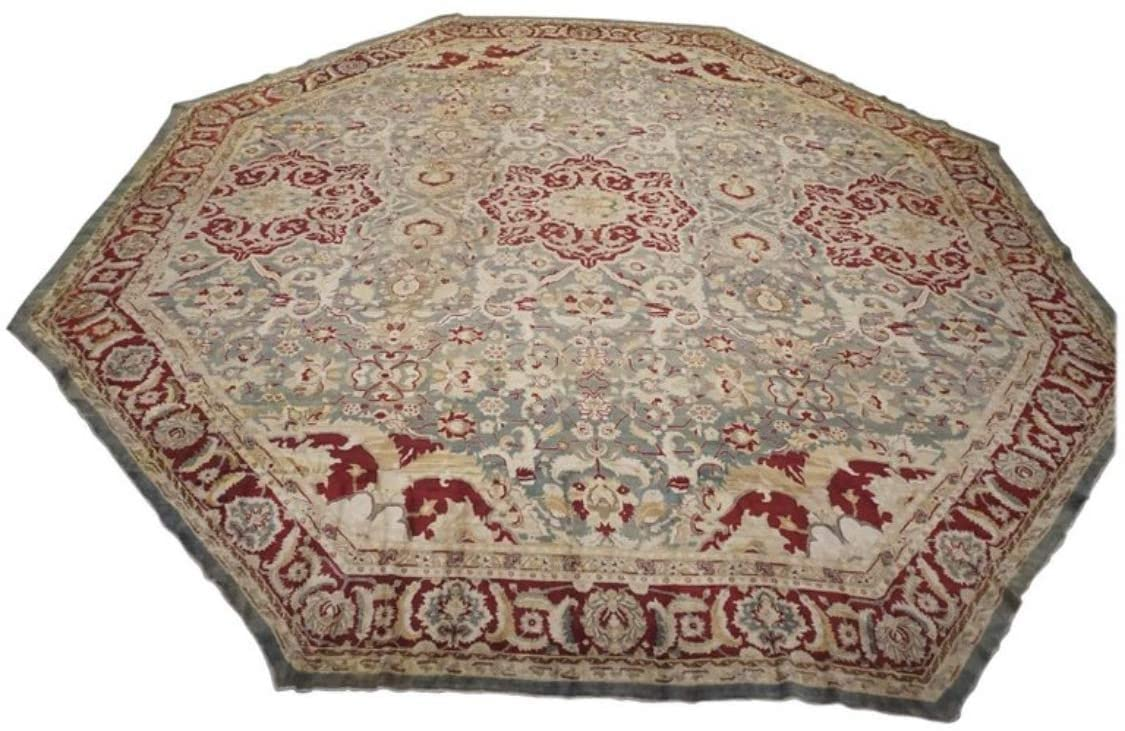 Antique Octagon-Shaped Indian Wool Carpet