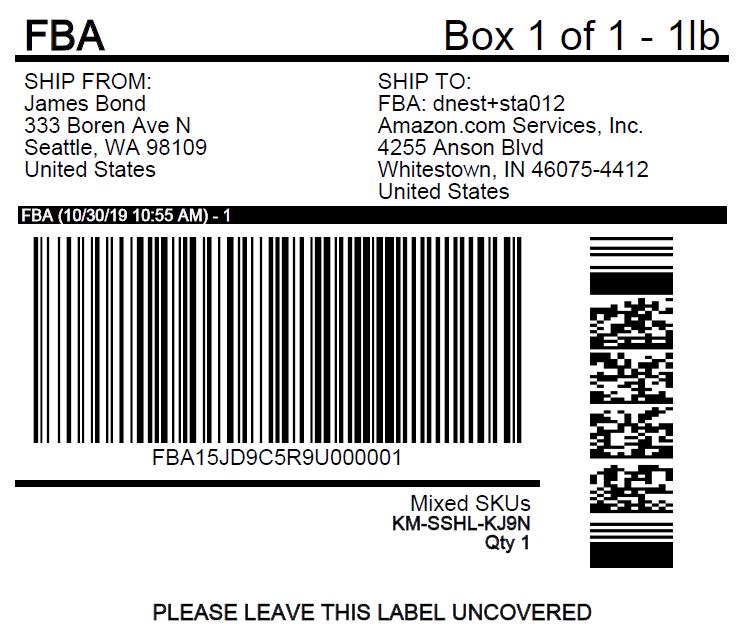 Amazon Pallet Label