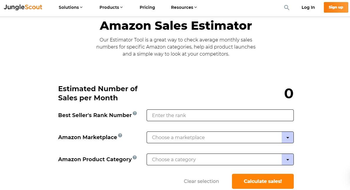 Jungle Scout Sales Estimator Tool