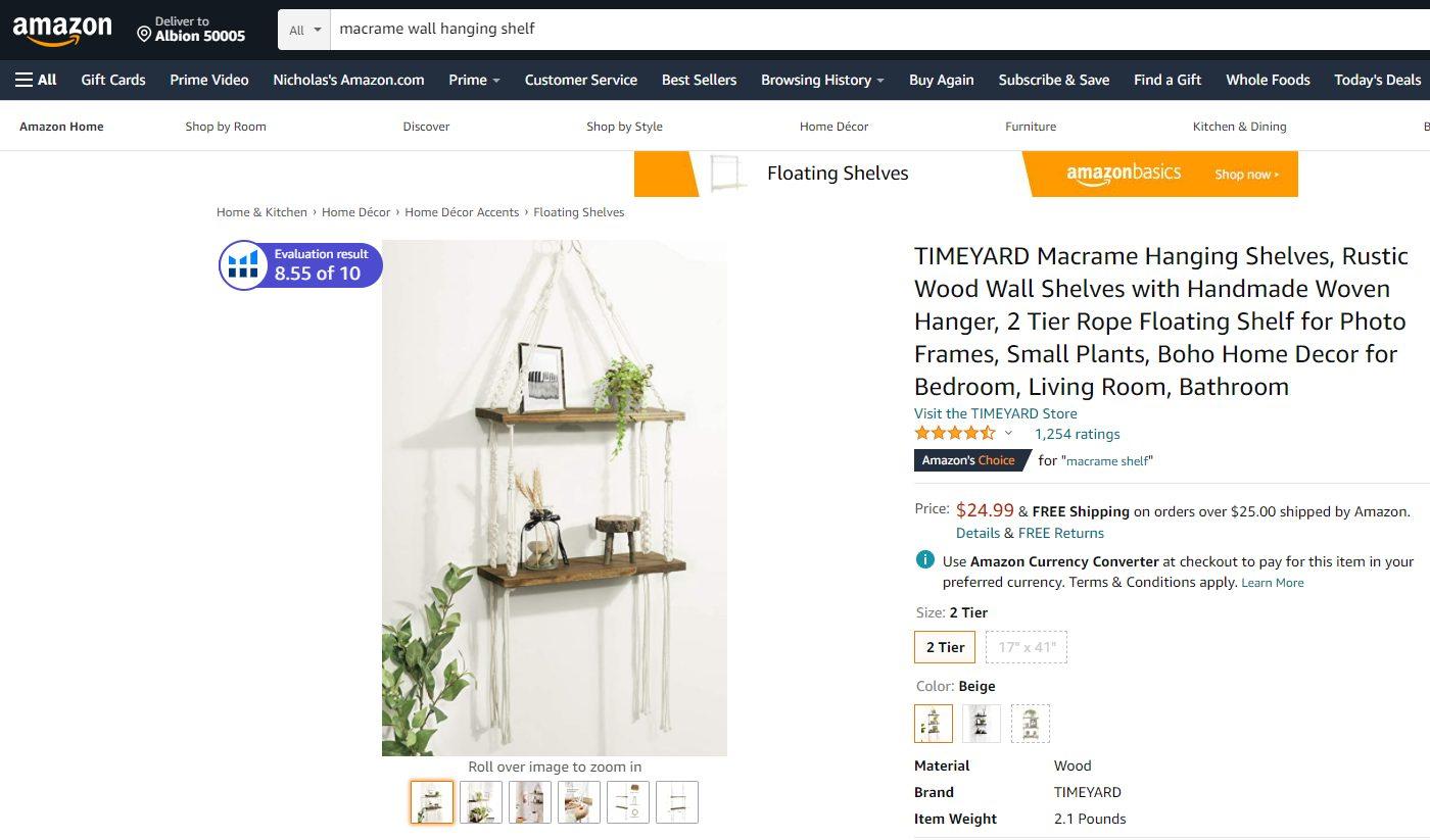macrame hanging shelves amazon
